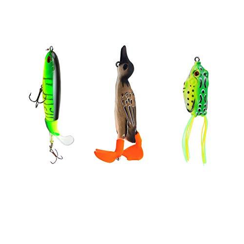 3 Pcs Señuelo Pesca Artificial, Señuelos de Pesca Spinning, Contiene Sardinas Giratorias, Patos 3D Giratorios, Ranas Trueno 3D, Caja Transparente con 15 Compartimentos, para Lubina, Carpa, Bagre