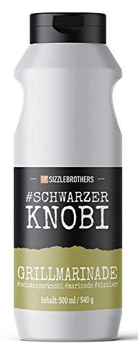 Grillmarinade der SizzleBrothers | 500ml #SchwarzerKnobi | Flüssige Marinade für saftigeres & zarteres Fleisch im Vergleich zum BBQ Rub | Für Grillfleisch wie Steaks, Hähnchen, Pulled Pork & co.