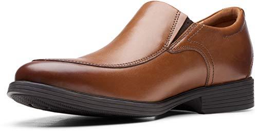 Clarks Men's Whiddon Plain Loafer, Dark Tan Leather, 7