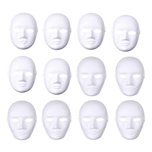 Amosfun 24 Stücke DIY Weiße Maske zum Bemalen Papier Theatermaske Neutralmaske Kindermasken(Männlich+Weiblich)
