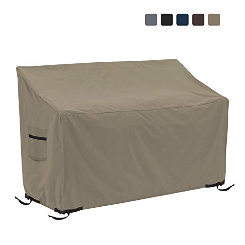Patio Bench Cover - Waterproof, Air Vents, 100% UV-Resistant, 12 Oz 1000 D PVC Coated, Outdoor Furniture Bench Covers with Air Pockets & Drawstring for Snug fit (50\