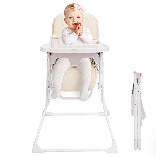 FUNNY SUPPLY Folding Baby High Chair with Dishwasher Safe Tray, Foldable & Portable High Chair Made of BPA-Free Plastic, Premium Leatherette Cushion, Ideal for Small Apartment - Cream