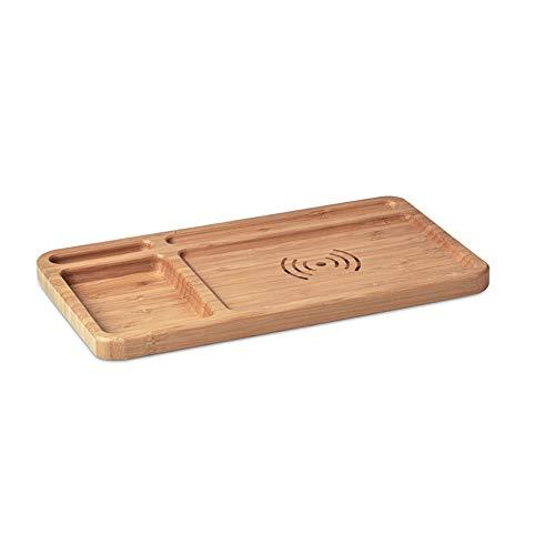 nachhaltiger Schreibtisch Organizer mit induktiver Ladestation aus Bambus, inkl. USB-Ladekabel, kompatibel für gängige Android und IOS Geräte von notrash2003