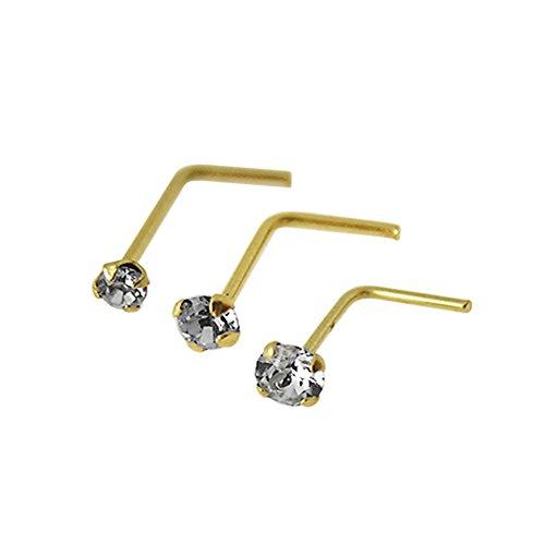 3 Stück Box-Set 9K Solid Gelb Gold Klaue echte Crystal Stein 22 Gauge L-förmige Nase Stud Piercing Set