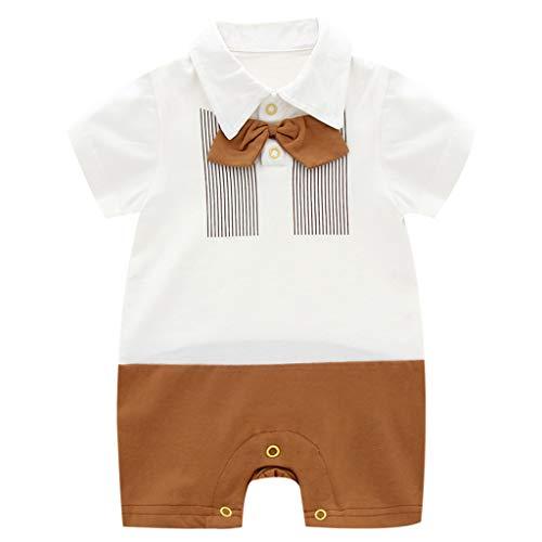 Baby Jongens Romper Polo Jumpsuit Korte mouw Bodysuits Bow Tie Onesie Zomer Outfits 3-6 Months C