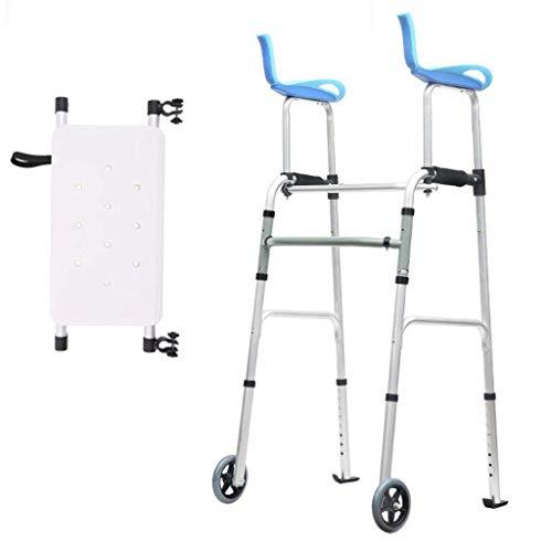FACAIA Bastones, Andador para Ancianos Aleación De Aluminio Silla De Inodoro para Discapacitados Equipo De Rehabilitación Andador Plegable (con Rueda con Placa De Asiento) Bastón Antideslizante con