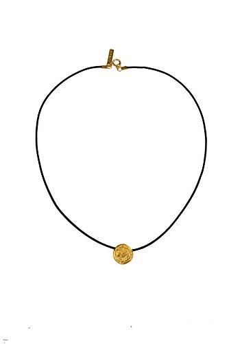 junam mujeres 18K chapado en oro de la moneda cordón de piel collar colgante con diseño de–100% hecho a mano