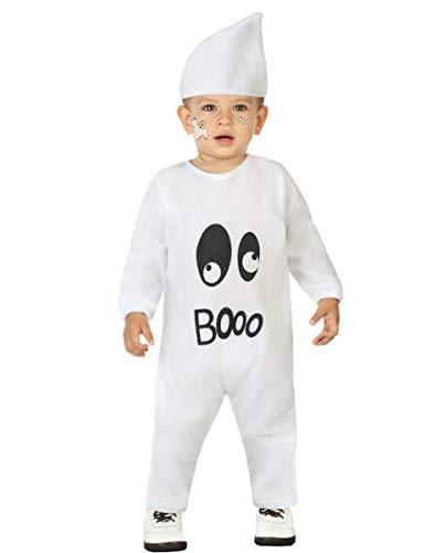 Atosa-55947 Atosa-55947-Disfraz Fantasma para niño bebé-Talla, Color blanco 6 a 12 Meses (55947