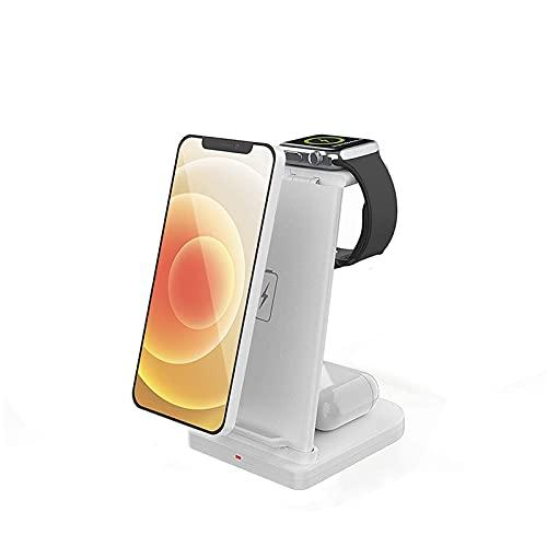 ALLWIN 2021 Nuevo 3 En 1 Cargador Inalámbrico, 15W Qi Qi Fast Vertical Wireless Cargador para iPhone 12/12 Mini / 12 Pro / 12 Pro MAX, FO Airpods Apple Watch 6 5 4 3 2,Blanco