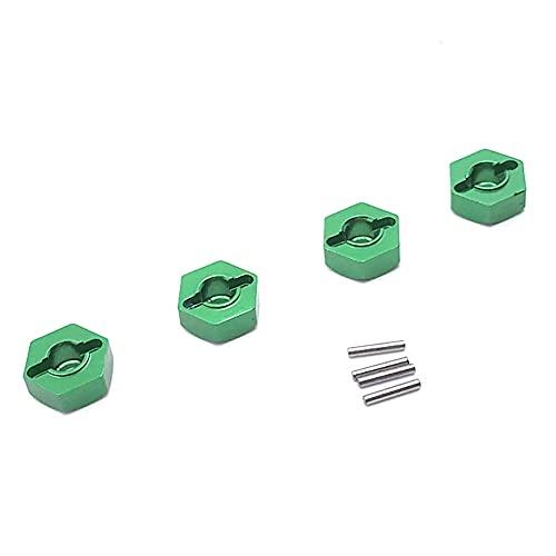 Runtodo Adaptador Hexagonal de Cubo de Rueda Combinador de AleacióN de Aluminio de 12 Mm para 104001 1/10 Coche RC Accesorios Piezas de ActualizacióN, Verde