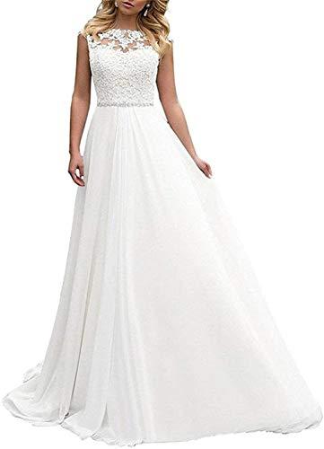 XUYUDITA Lange Brautkleider Frauen Brautkleider Spitze Chiffon A Linie Rückenfrei Hochzeitskleid Gr. 48, elfenbeinfarben