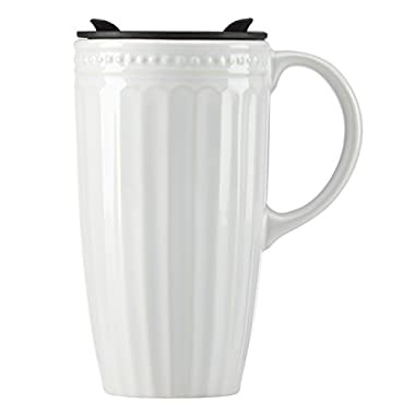 Lenox French Perle Groove Travel Mug with Handle, White