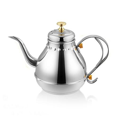 Acero inoxidable Tetera, no magnético caldera de acero inoxidable Corte Pot hervidor de agua para preparar té café Inducción Olla caño largo con Infusor Colador Kitchen Aid,1800ML