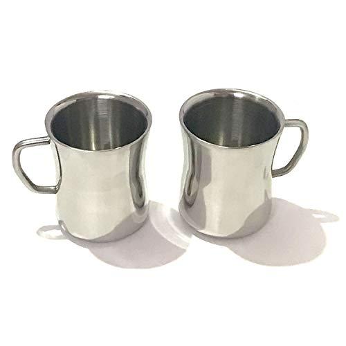 Roestvrij stalen dubbelwandige mokken: 100% BPA-vrije metalen koffie & theekop mok geïsoleerde bekers met handgrepen houden drankjes warm of koud langer duurzaam voor Camping Herbruikbare Vaatwasser Safe Set van 2