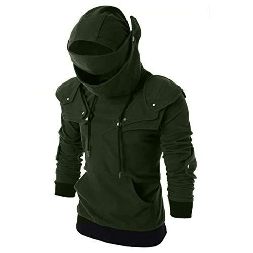 FRAUIT Herren Vintage Masked Studded Winterjacke Mit Helm Hoode Sweatshirt Masked Kapuzenpullover Rüstung des römischen Gladiators