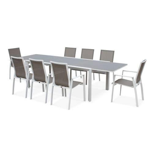 Salon de Jardin Table Extensible - Washington Taupe - Table en Aluminium 200/300cm, Plateau en Verre dépoli, rallonge et 8 fauteuils en textilène