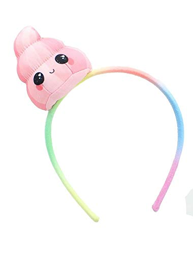 Glitter Galaxy Plush Pink Poop Emoji Child Costume Headband