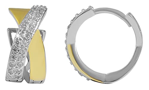 Pendientes de aro de plata de ley 925 con circonitas, bicolor, 925/rodiada.
