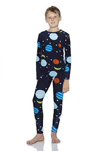 Rocky Space Thermal Underwear for Boys Fleece Lined Thermals Kids Base Layer Long John Set (Space Design - Large)