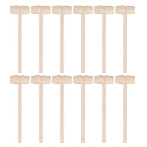 STOBOK Mini palos de martillo de madera de 12 piezas para martillo de corazón desmontable de chocolate (estilo 1)