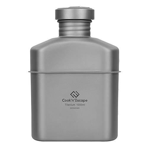 COOK'N'ESCAPE チタン 水筒 キャンティーンミリタリーキャンティーン 登山キャンプ用 ボトル 大容量 アウトドアボトル 収納袋付き