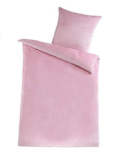 MALIKA Winter Plüsch Bettwäsche Nicky-Teddy Cashmere Coral Fleece 135x200 155x220 200, Größe:155 x 220 cm, Designe:ROSA