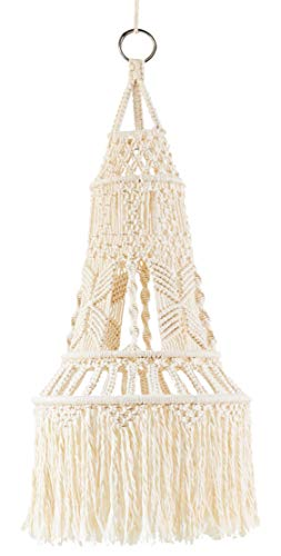 Mkono Macrame LampShade Ceiling Pendant Light Shade Tasseled Chandelier Boho Wedding Hanging Handwoven Home Decoration