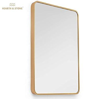 Hearth & Stone Gold Mirror, Bathroom Mirror for Vanity (Large Gold Framed Mirror) | Gold Wall Mirror, Gold Mirrors for Wall Decor Gold Vanity Mirror Gold Antique Mirror (Gold, Rectangle (22x28))