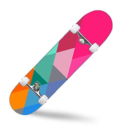 ZASX Tabla Completa de Skate de 31 x 8 Pulgadas, con rodamientos de Bolas ABEC-7,Triángulo de colorMadera de Arce de 8 Capas Adecuada para niños, Adolescentes y Adultos, con un Peso de 150 kg.