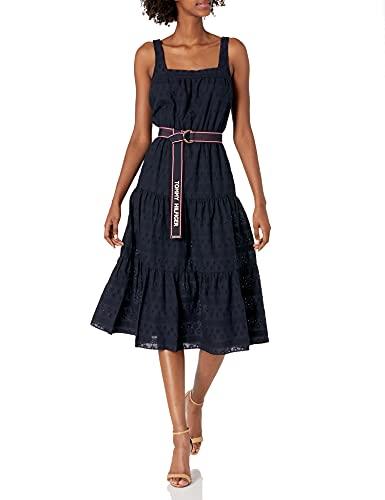 Tommy Hilfiger Women's Sleeveless Eyelet Dress, Sky Captain, 10