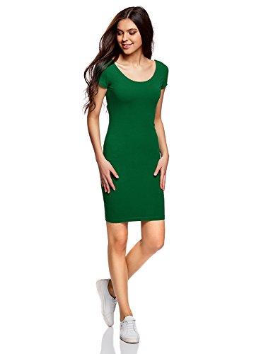 oodji Collection Mujer Vestido Ajustado con Escote Pronunciado en la Espalda, Verde, ES 36 / XS
