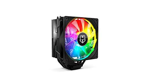 Nox Hummer H-224 -NXHUMMERH224ARGB- Ventilador CPU ARGB, compatible con Intel&AMD, ventilador 120mm PMW, 4 heatpipes base de aluminio y cobre, color negro