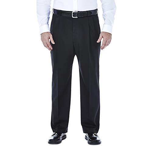 Haggar Men's Big & Tall Premium No Iron Heather Classic Fit Expandable Waist Plain Front Pant Black 48x29