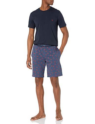 Emporio Armani Herren Pyjamas Pyjama Set, Streifen + Adler, Medium