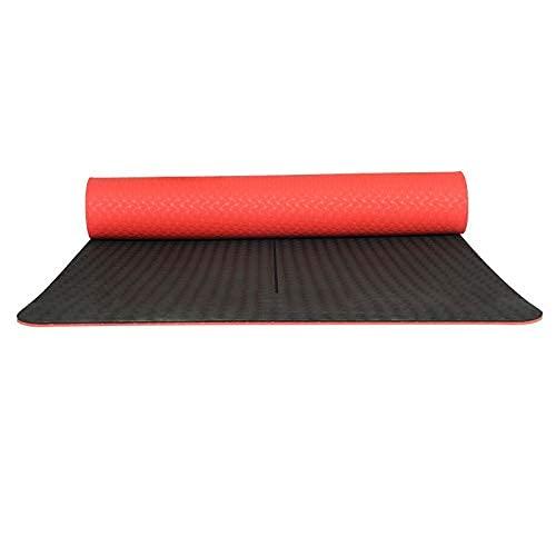 NZKW Esterilla de Yoga Antideslizante de 2 Colores, TPE insípido Respetuoso con el Medio Ambiente, Damas Principiantes de 6 mm alargan la Alfombra, Esterilla de Yoga antidesgarro de alt