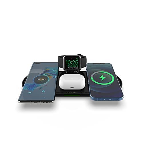 Estación De Carga Inalámbrica 4 En 1 Para Teléfonos Apple/Android/Iwatch/Airpods,Soporte De Cargador Inalámbrico De 40W,Estación De Carga Con Soporte De Cargador Rápido Con Certificación Qi (Black)