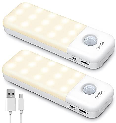 Gritin Motion Sensor Light, [2 Pack] Cupboard Light Stick-on Closet Light,...