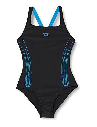 ARENA Mädchen Sport Badeanzug Stamp, Black-Turquoise, 164