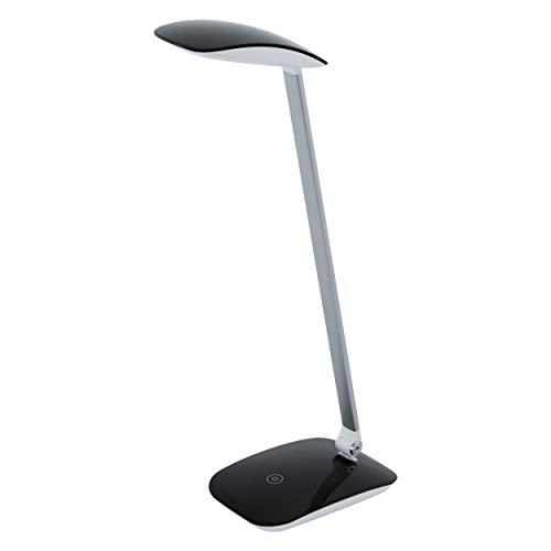 EGLO LED Tischlampe Cajero, 1 flammige Tischleuchte mit Touch, dimmbar, USB Lampe, Schreibtischlampe Modern, Minimalismus aus hochwertigem Kunststoff, Bürolampe in Schwarz