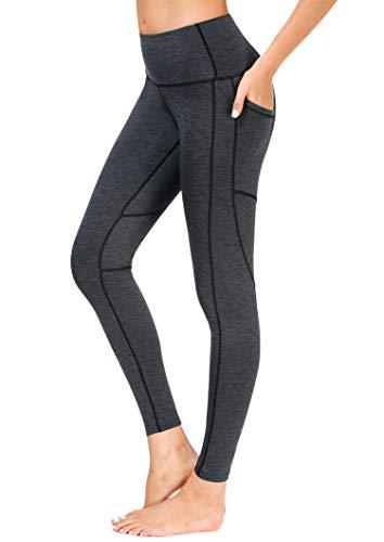 Sugar Pocket Sport Leggings Gym Fitness Tummy-Control Pantalones de Yoga de Cintura Alta para Mujer, Mujer, Kohlenstoffgrau, Small
