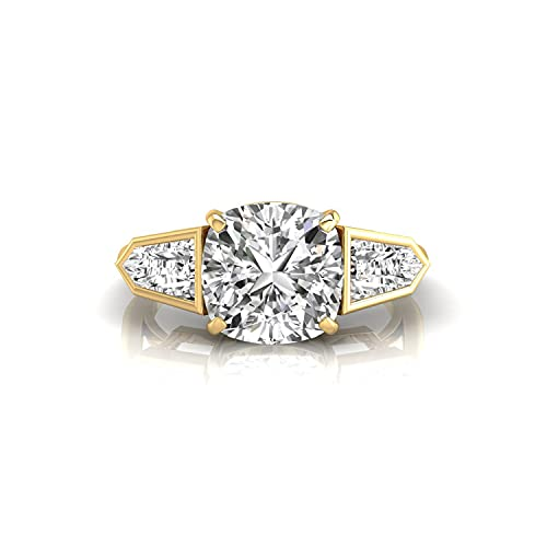 Diamondrensu Anillo de compromiso de Moissanita incoloro con forma de bala cónica y cojín de 2,68 pulgadas para mujer, anillo de aniversario de 18 quilates, Piedra preciosa. Metal precioso.,