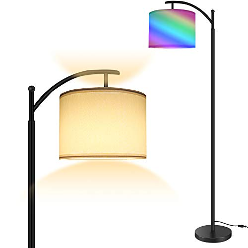 Floor Lamp, RGB Modern Standing Lighting with Touch Control, Standard Lamp with Color&Brightness Changing, Floor Lamps for Living Room, Bedroom, Office, Bomcosy Rotatable Lamp Head for Home Decoration