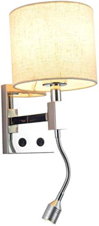 E27 Modern Kreativ Wandbeleuchtung, LED Scheinwerfer Wandleuchte Mit Schalter Nachttisch leselicht Wandlampe 2 leuchten 2 schalter Schlafzimmer Wohnzimmer 3w Inkl. leuchtmittel-A W15S21H24.5(cm)