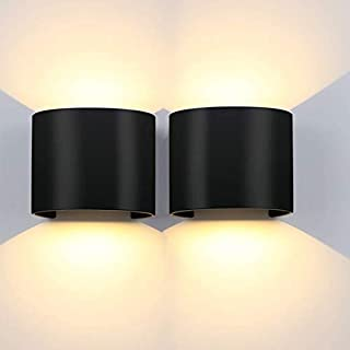 LEDMO 12W Appliques Murales Interieures/Exterieure,Noir 3000K Demi-circulaire Applique Murale LED,IP65 Lampe Murale Interi...