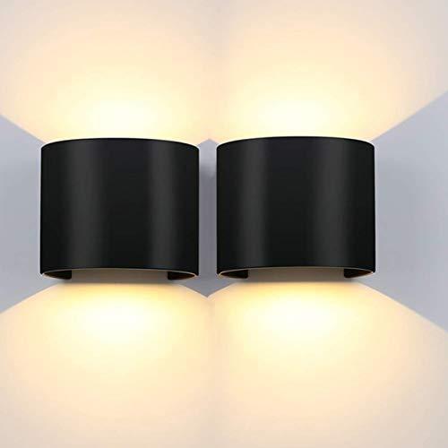 LEDMO Lampade da Parete 12W 2 Pezzi Applique da Parete Interno/Esterno 3000K IP65 Impermeabile,per Soggiorno, Camera da Letto, Corridoio, Scale, Sala da Pranzo.