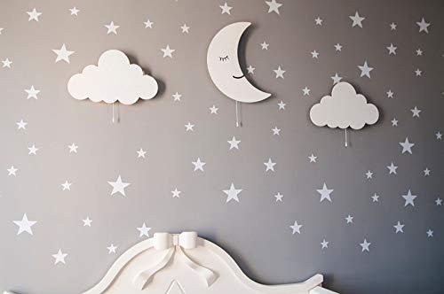 Juego de 3 luces de pared de madera con LED, 100 pegatinas de pared de estrellas plateadas, regalo
