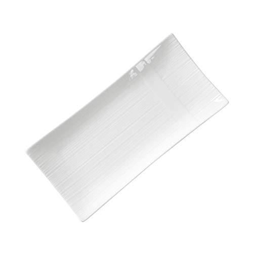 HTL Dinner Plate Wobble Plate Japanese Sushi Plate Rectangular White Ceramic Plate Available in Microwave Oven 11Inches 13Inches Rectangular Round,13Inches