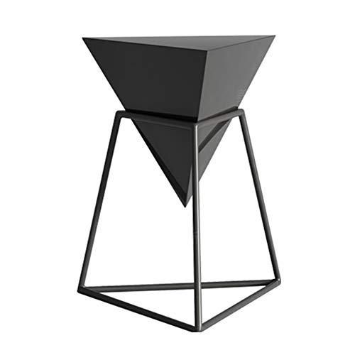 CHUNLAN Table d'appoint géométrique en bois, table basse pour canapé de salon, table à manger amovible, jardinière, noir, 46 * 46 * 55cm