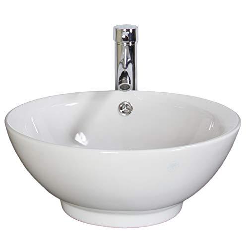 KLARA Basin Sink Countertop Bowl Cloakroom Vessel Bathroom White Ceramic 400