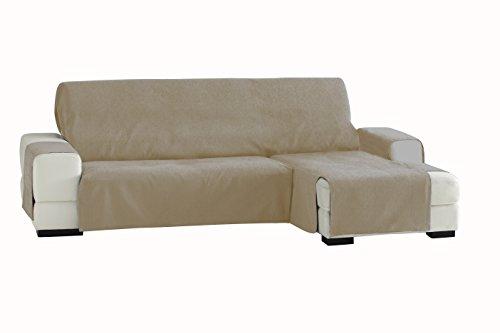 Eysa Fundas de Sofa Prácticas, Chaise Longue 240 cm, Derecha Vista Frontal, Tela, Beige, Tres Plazas